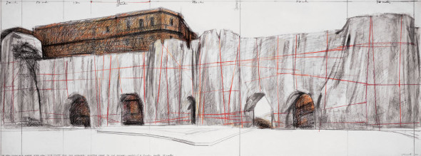 """Christo  The Wall (Project for a Wrapped Roman Wall)  Drawing 1973  36 x 96"""" (81.5 x 244 cm)  Pencil, wax crayon and charcoal  Private collection, Europe  Photo: André Grossmann  © 1973 Christo"""
