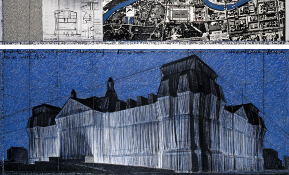 """Christo  Wrapped Reichstag (Project for Berlin)  Drawing 1995 in two parts  15 x 96"""" and 42 x 96"""" (38 x 244 cm and 106.6 x 244 cm)  Pencil, pastel, charcoal, wax crayon, technical data, aerial map and fabric sample  Photo: Wolfgang Volz  © 1995 Christo"""