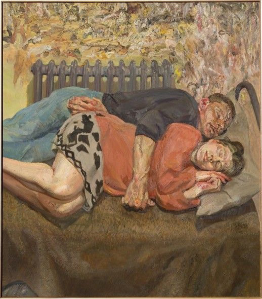 Lucian Freud (1922–2011), Ib and her husband, 1992. Oil on canvas. 66 ¼ x 57 ¾ in. (168.3 x 146.7 cm.) Estimate on request. This work is offered in Defining British Art: Evening Sale at Christie's London on 30 June