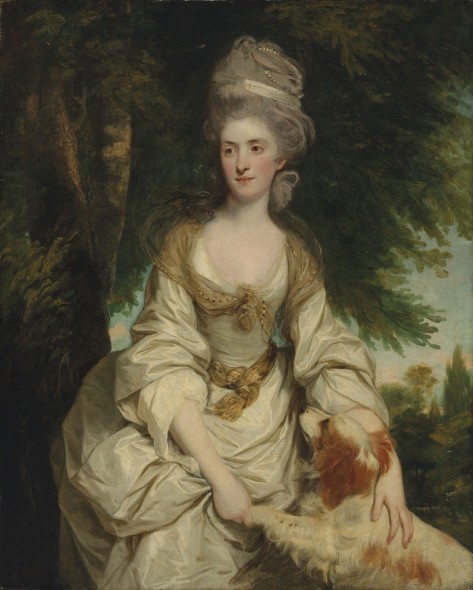 Sir Joshua Reynolds, P.R.A. (1723-1792), Portrait of Lucy Long, Mrs George Hardinge (d. 1820), daughter and heiress of Richard Long of Hinxton, Cambridgeshire, in a white dress with a sheer brown scarf and a ribbon and pearls in her hair, with her spaniel, in a landscape, 1778. Oil on canvas. 50 1/8 x 40 1/4 in. (127.3 x 102.1 cm.) Estimate: £2,000,000-3,000,000. This work is offered in Defining British Art: Evening Sale at Christie's London on 30 June