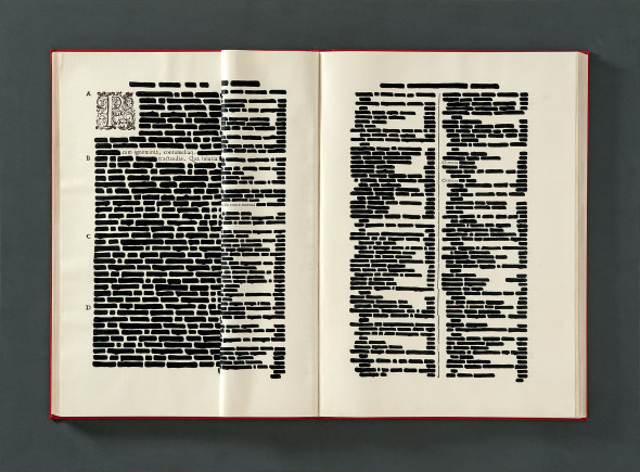 Clemens, 1971 86x116 cm India ink on printed book in wood and plexiglass box Private collection
