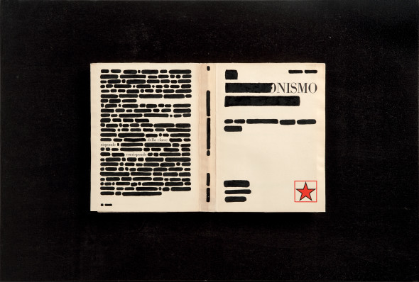 The answer, 1971 40x59 cm India ink on printed book in wood and plexiglass box Private collection