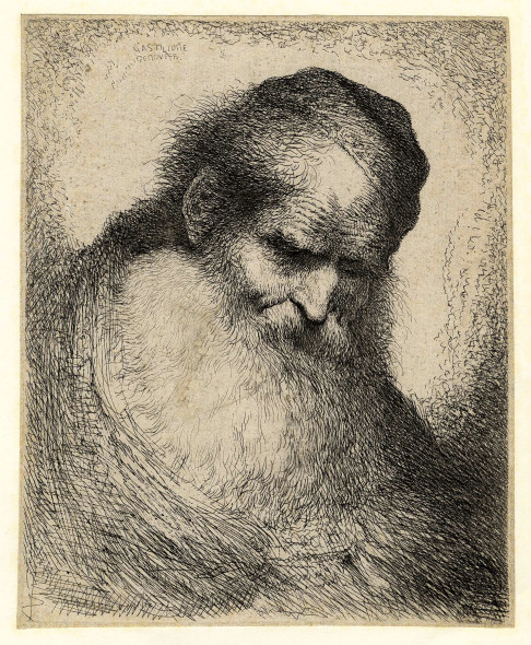 Giovanni Benedetto Castiglione (detto il Grechetto) (Genova, 1609 - Mantova, 1665) Vecchio con grande barba. 1645-1650. Acquaforte. mm 180x151. Foglio: mm 185x154 Courtesy by Creatini e Landriani, Sestri Levante