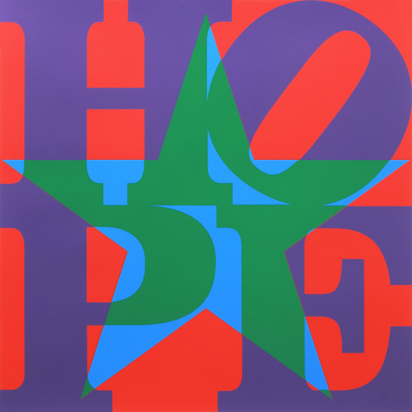 Robert Indiana, Star of HOPE (PurpleGreenBlueRed) 2013 Silkscreen in colors on coventry, One of A Kind 83.8 x 74.9 cm, Courtesy by ContiniArt UK, Londra
