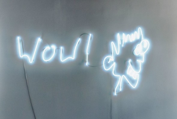 """Christian Jankowski Wow! from the series """"Visitors"""", 2013 Neon Sculpture Lisson Gallery Milano"""