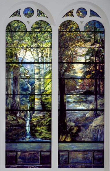 Tiffany Studios (1902-1932). Dawn in the Woods in Springtime, 1905. Stained glass window, approx.: 150 x 43 in. (381 x 109.2 cm). Brooklyn Museum, Gift of All Souls Bethlehem Church, 2014.17.1. Creative Commons-BY (Photo: Brooklyn Museum)