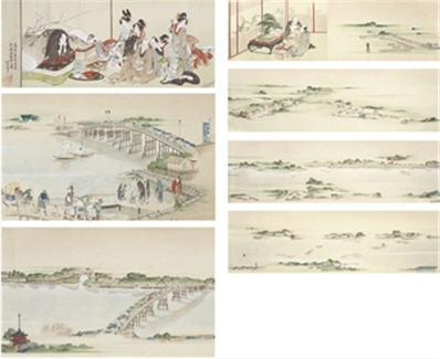 Hokusai, Panoramic View of the Journey along the Sumida River from the ...