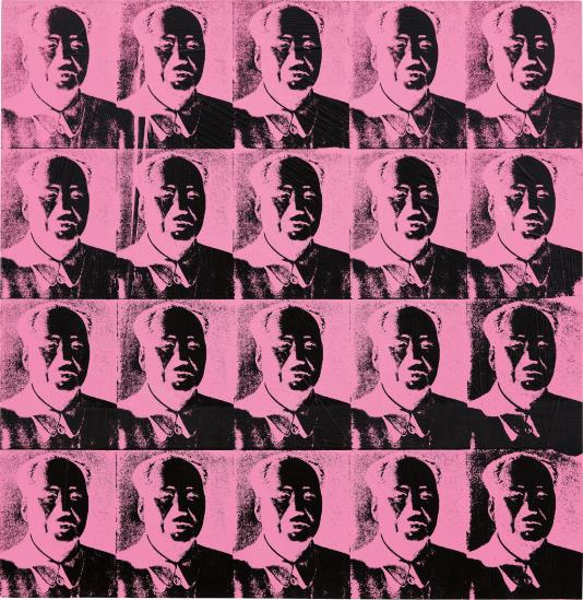 """9 ANDY WARHOL 20 Pink Mao's signed, dated and titled 'Andy Warhol 79 """"20 pink Mao's reversal series""""' on the overlap synthetic polymer and silkscreen ink on canvas 99.7 x 96.8 cm (39 1/4 x 38 1/8 in.) Executed in 1979.  Estimate £4,000,000 - 6,000,000 ‡ SOLD FOR £4,741,000"""