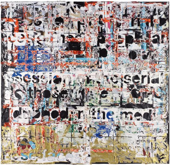 Lot 6 MARK BRADFORD Rat Catcher of Hamelin III mixed media on canvas 304.8 x 320 cm (120 x 125 7/8 in.) Executed in 2011.  Estimate £1,500,000 - 2,000,000 ‡ SOLD FOR £3,733,000