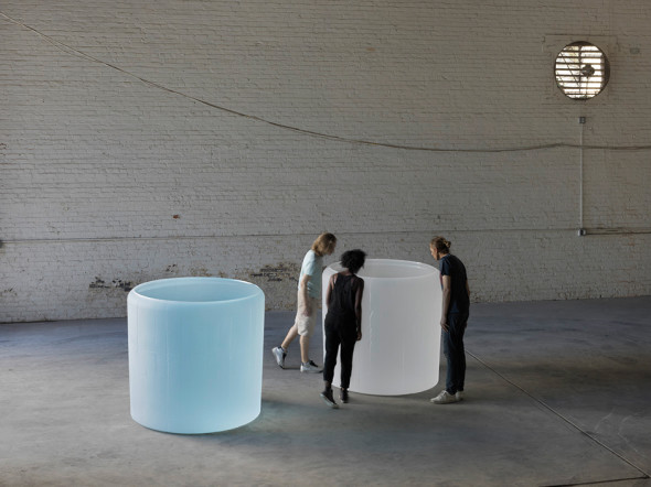 """Roni Horn - Water Double, v.1, 2013-15, solid cast glass with as-cast surfaces with oculus 51.7 x 53-56"""" tapered diameter / 131.318 x 134.62-142.24 cm tapered diameter"""