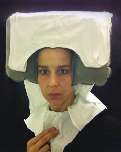 """Nina Katchadourian """"Lavatory Self-Portrait in the Flemish Style #11"""" (""""Seat Assignment"""" project, 2010 - ongoing), 2011. C-print. Courtesy Nina Katchadourian e Catharine Clark Gallery"""