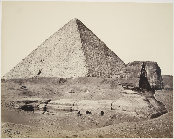Francis Frith, The Great Pyramid and the Great Sphinx, 1858. Mammoth albumen print from a collodion negative. Courtesy of Hans P. Kraus Jr., New York