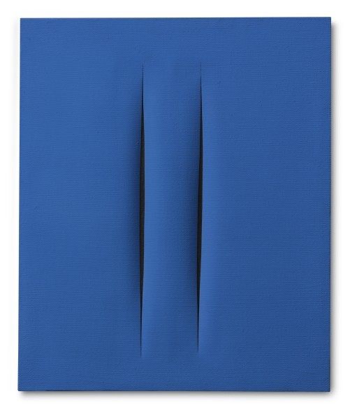 "Lucio Fontana CONCETTO SPAZIALE, ATTESE SIGNED, TITLED, DEDICATED AND INSCRIBED ON THE REVERSE L.FONTANA / ""CONCETTO SPAZIALE""/ ATTESE / PER CADARIO 2-6-68 / I°, DAL ""BUCO"" INIZIA L'EVOLUZIO-/NE DELL'ERA SPAZIALE, WATERPAINT ON CANVAS. EXECUTED IN 1968 Estimate 700,000 — 900,000 EUR LOT SOLD. 943,500 EUR"