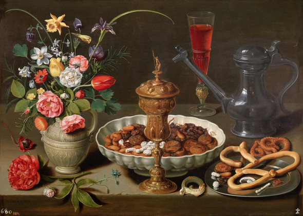 Still life with Flowers, Gilt Goblet, Almonds, Dried Fruits, Sweets, Biscuits, Wine and a Pewter Flagon  Clara Peeters  Oil on panel, 53 x 73 cm                     1611     Madrid, Museo Nacional del Prado