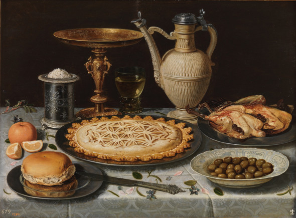 Table with Cloth, Salt Cellar, Gilt Standing Cup, Pie, Jug, Porcelain Plate with Olives and Cooked Fowl   Clara Peeters  Oil on panel, 55 x 73 cm                     c. 1611             Madrid, Museo Nacional del Prado