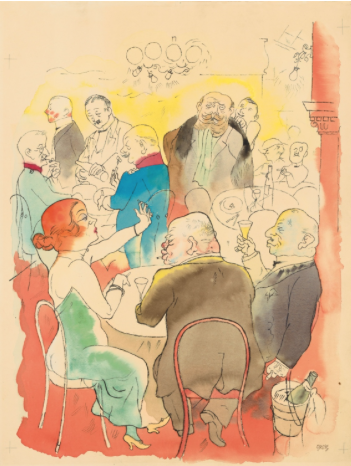 George Grosz 1893 - Berlin - 1959 Soirée 1922 Watercolour, pen and ink and pencil on firm paper with 3 perforated margins. 49.2 x 37.2 cm. Signed 'Grosz' in ink in old German lower right. - The colours very fresh, the paper slightly browned, a short professionally restored marginal tear to the right. Register marks in pencil in the corners. With an expertise by Ralph Jentsch. The work is to be included in the catalogue raisonné of the works on paper by Gerorge Grosz. Estimated price €250.000 - €350.000