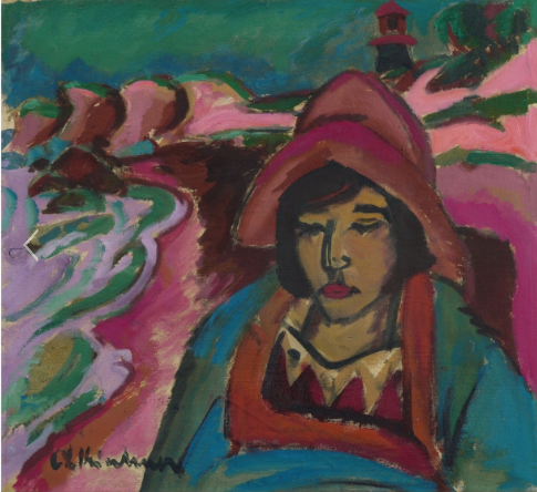 "Ernst Ludwig Kirchner Aschaffenburg 1880 - 1938 Frauenkirch near Davos Mädchen in Südwester 1912 Oil on canvas. 51 x 56 cm. In a frame designed by the artist. Signed 'E. L. Kirchner' in blue-black lower left and titled 'Mädchen im [sic] Südwester' in blue brush verso. - Two Basel estate stamps ""NACHLASS E.L.KIRCHNER"" verso, the larger one inscribed ""Be/Ba 1"" in black brush. - A small loss of colour in the central left area of the painting, restored by the artist and backed with canvas patches verso. A short, professionally restored tear in the upper canvas overlap. Gordon 246Estimated price €1.300.000 - €1.500.000"