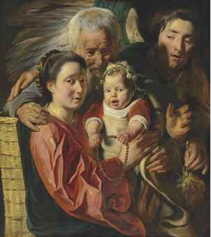 Jacob Jordaens (Antwerp 1593-1678) The Holy Family with an angel oil on canvas 34 7/8 x 30 3/8 in. (87.3 x 77.2 cm.) Price Realised  GBP 1,805,000 USD 2,281,520 Estimate GBP 500,000 - GBP 800,000 (USD 631,500 - USD 1,010,400)