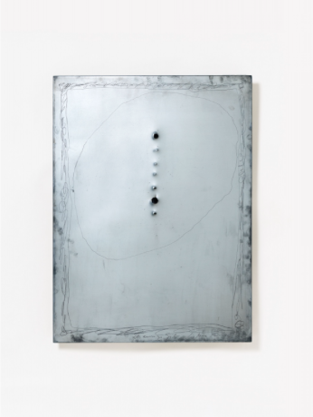 Lucio Fontana Rosario de Santa Fé (Argentina) 1899 - 1968 Varese Matrice di incisione 1966 Steel, scratched and perforated. 80 x 60 cm. Signed and dated 'I.Fontana 66' (scratched) and with dedication to the printer Giorgio Upiglio. - Traces of studio as well as firmly mounted to panel. The present work is registered under the number 3654/4 in the Fondazione Lucio Fontana, Milan. Estimated price €100.000 - €150.000