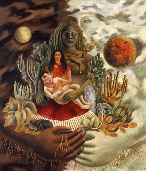 Frida Kahlo L'amoroso abbraccio dell'universo, la terra (Messico), io, Diego e il signor Xolotl, 1949 Olio su tavola, 70x60,5 cm The Jacques and Natasha Gelman Collection of 20th Century Mexican Art and The Vergel Foundation, Cuernavaca © Banco de México Diego Rivera Frida Kahlo Museums Trust, México D.F. by SIAE 2016