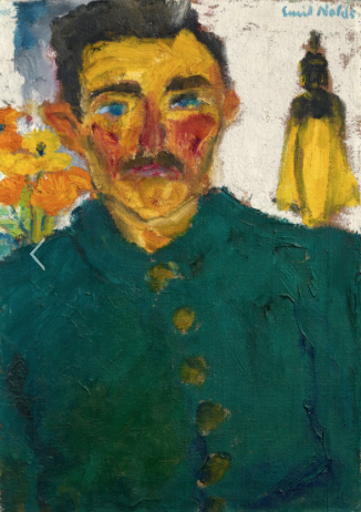 "Emil Nolde Nolde near Tondern 1867 - 1956 Seebüll Der Jäger 1918 Oil on canvas. 68.5 x 48.5 cm. Framed. Signed 'Emil Nolde.' in blue upper right. Inscribed 'Emil Nolde: ""Der Jäger."" on the back of the stretcher upper left. - Old nailing, the stretcher with traces of colour. The left edge of the canvas has been cut and flush mounted to the wood on the front with nails. The other sides with canvas overlap, the lower one painted. - In fine, original condition. Urban 821 Estimated price €500.000 - €600.000"