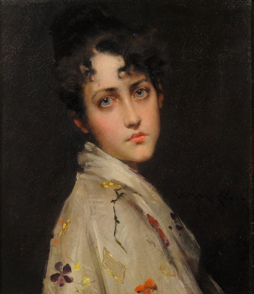 WILLIAM MERRITT CHASE Young Lady Wearing a Kimono (1890 c.),  © Private collection