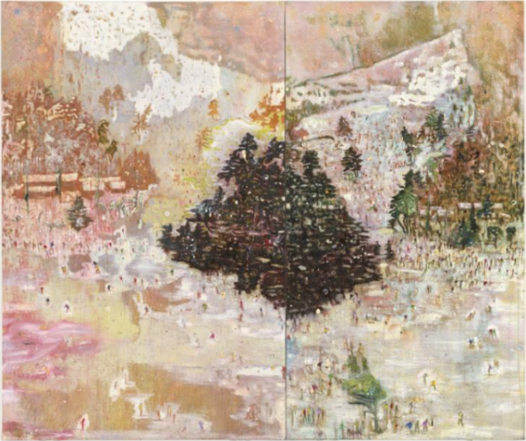 Peter Doig Ski Jacket 1994 Oil on canvas support, right: 2953 x 1604 x 33 mm support, left: 2950 x 1900 x 33 mm Purchased with assistance from Evelyn, Lady Downshire's Trust Fund 1995© Peter Doig