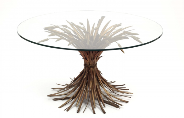 """Lot 5: A """"gerbe de blé"""" coffee table by Robert Goossens. Cut glass, bronze patinated metal. An identical coffee table in Coco Chanel's apartment in the rue Cambon. Unsigned. H 53, D 95 cm. Estimate: € 3,000 – 4,000."""