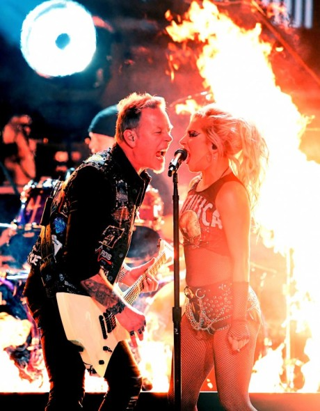 Lady Gaga performs with James Hetfield of Metallica at the 59th Annual GRAMMY Awards on Feb. 12 in Los Angeles Photo: Kevin Winter/WireImage.com