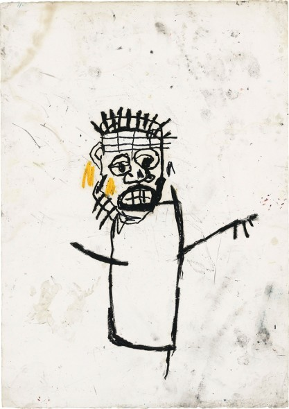 Jean-Michel Basquiat (1960–1988), Untitled, 1982. Oil stick on paper. 42⅝ × 30 in (108.3 × 76.2 cm). Estimate: £1,000,000–1,500,000. This work is offered in the Post-War and Contemporary Art Evening Auction on 7 March at Christie's London