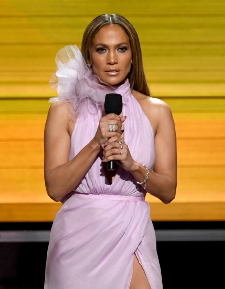 Jennifer Lopez at the 59th Annual GRAMMY Awards on Feb. 12 in Los Angeles