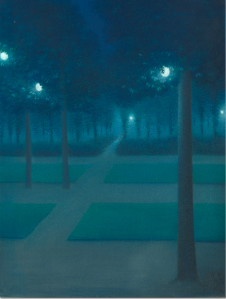 William Degouve de Nuncques Nocturne au Parc Royal de Bruxelles, 1897 Pastel, 65 x 50 cm Paris, musée d'Orsay, RF 38999 © RMN-Grand Palais (musée d'Orsay) / Hervé Lewandowski