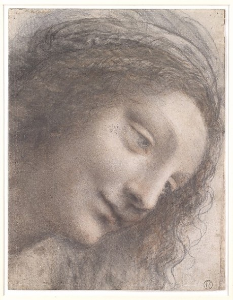 The Head of the Virgin in Three-Quarter View Facing Right Leonardo da Vinci , 1510–1513  Black chalk, charcoal, and red chalk, with some traces of white chalk (?); some remains of framing outline in pen and brown ink at upper right (not by Leonardo)