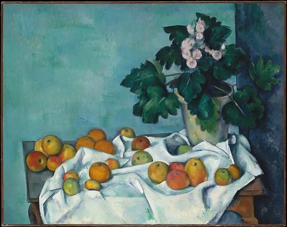 Still Life with Apples and a Pot of Primroses Paul Cézanne , ca. 1890
