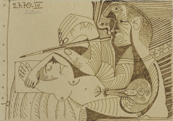 Pablo Picasso 1881 - 1973 LE PEINTRE ET SON MODÈLE Signed Picasso and dated 2.7.70. IV (upper left) ink on cardboard 8 5/8 x 12 1/4 in. Executed on 2nd July 1970. Estimate     300,000 — 400,000  EUR