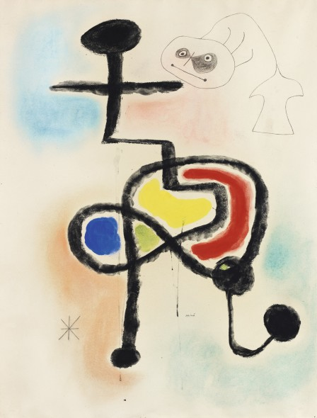 Joan Miró 1893 - 1983 FEMME, OISEAU, ETOILE signed Mirò (lower center) ; signed Joan Mirò, tittled Femme, oiseau, étoile, inscribed Barcelone and dated 3-2-1943 (on the reverse) gouache, watercolour, pastel and pencil on paper 26 3/8 x 20 1/2 in. Painted in 1943. Estimate     200,000 — 300,000  EUR