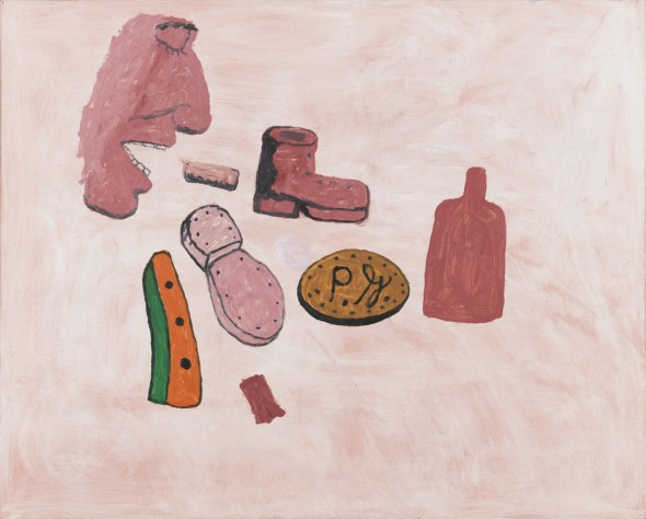 Philip Guston: Painter's Forms, 1972, oil on panel, 48 x 60 in. Private Collection. © The Estate of Philip Guston. Curtesy Hauser & Wirth