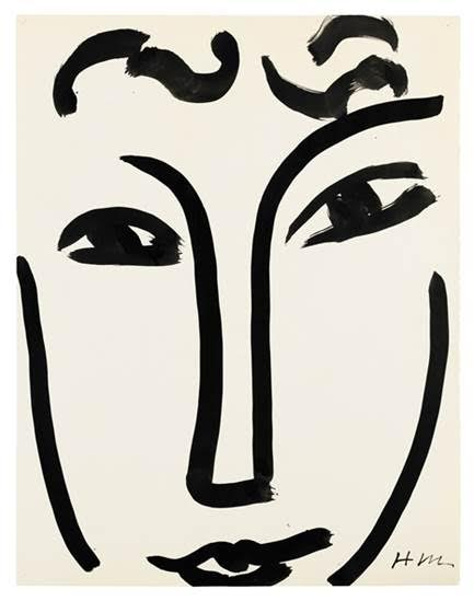 Henri Matisse 1869 - 1954 VISAGE signed with the artist's monogram Hm (lower right) India ink and brush on paper 25 1/2 x 19 5/8 in. Executed in Nice in 1952. Estimate     800,000 — 1,200,000  EUR