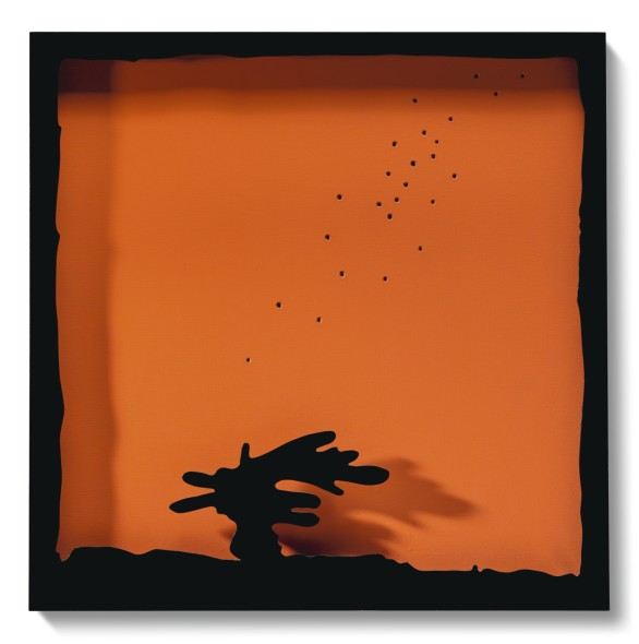 Lucio Fontana 1899 - 1968 CONCETTO SPAZIALE, TEATRINO SIGNED AND TITLED ON THE REVERSE, WATER-PAINT ON CANVAS ORANGE, AND LACQUERED WOOD BLACK. EXECUTED IN 1965 firmato e intitolato sul retro idropittura su tela arancione e legno laccato nero cm 100x100 Eseguito nel 1965