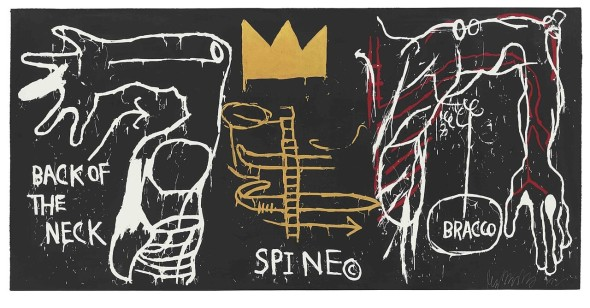 ©  BASQUIAT, JEAN-MICHEL  2772 B356  Back of the Neck 1983 Five-color silkscreenwith hand coloring on paper 50.25 x101.75 in.