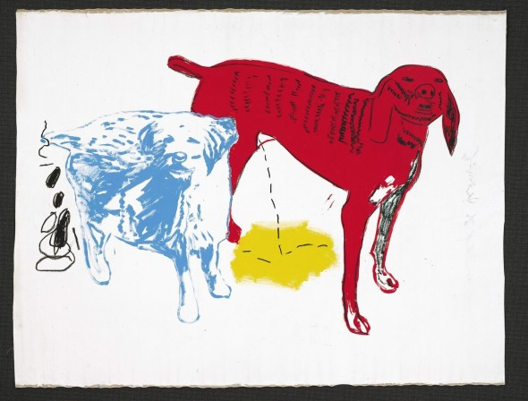 © BASQUIAT AND ANDYWARHOL, JEAN-MICHEL 2362 B343 / W1003Untitled (Two Dogs) 1984 Acrylic andsilkscreen ink oncanvas 80 x 106 in.
