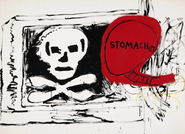 © BASQUIAT AND ANDYWARHOL, JEAN-MICHEL 2802 B357 / W1057 Untitled 1984-1985 Acrylic, silkscreen and oil on canvas 76.375 x105.125 in.