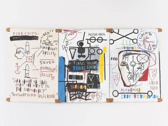 © BASQUIAT, JEAN-MICHEL 2014 B272 Five Fish Species 1983 Acrylic and oil stickon canvas mounted on wood supports -three panels 66.875 x140.5 in. overall
