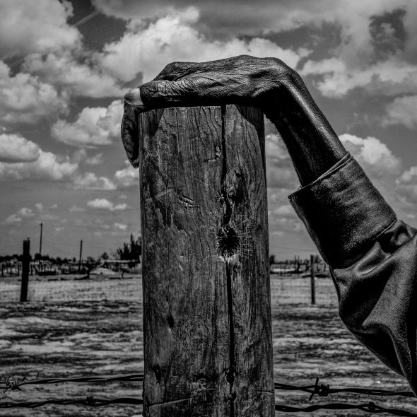 Allensworth, California.  Fence post.  2014. From photographer Matt Black's the Geography of Poverty project to be exhibited at the  Cortona On The Move International Photography Festival in Cortona, Italy. To be used in connection with connection with promoting the festival and exhibition only.   Mandatory Credit:  Matt Black/Magnum Photos.