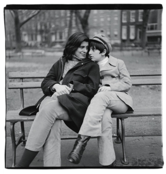 Diane Arbus, Susan Sontag and her son on bench, N.Y.C. 1965