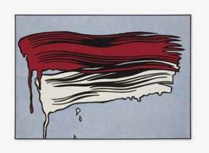 Lot 57 B Roy Lichtenstein (1923-1997) Red and White Brushstrokes oil and Magna on canvas 48 x 68 in. (121.9 x 172.7 cm.) 	estimate $25,000,000 - $35,000,000  PRICE REALIZED USD 28,247,500