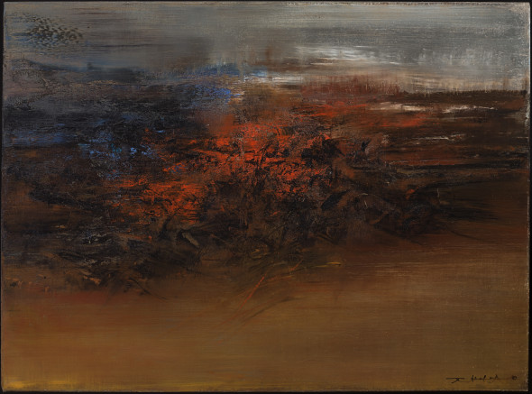 Applicat-Prazan 16.4.62 Zao Wou-Ki (Peking 1921-2013 Nyon) Oil on canvas 73 x 100 cm Signed lower right and signed and titled/dated on the reverse 1962