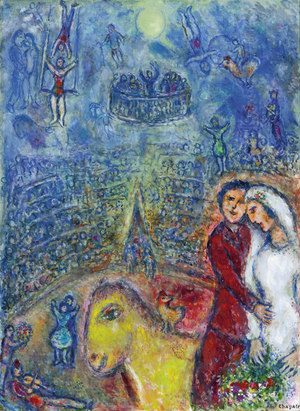 Galerie Boulakia Les fiancés au cirque Marc Chagall (Vitebsk 1887-1985 Saint-Paul-de-Vence) Oil on canvas 100 x 73 cm Signed lower right 'Marc Chagall', signed and dated on verso 'Marc/Chagall/1982' 1982 Certificate of the Marc Chagall committee, Paris.