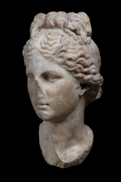 Galerie Chenel Aphrodite head Marble and brown patina 35 x 17 x 25.5 cm Hellenistic, first century BC - first Century AD
