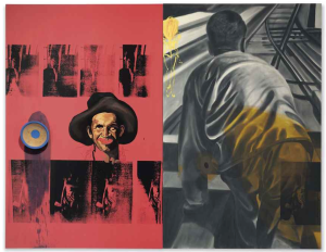 Lot 13 B David Salle (B. 1952) Footmen diptych—oil and acrylic with wood bowl on canvas 93 x 120 in. (236.2 x 304.8 cm.) estimate $250,000 - $350,000  PRICE REALIZED USD 583,500